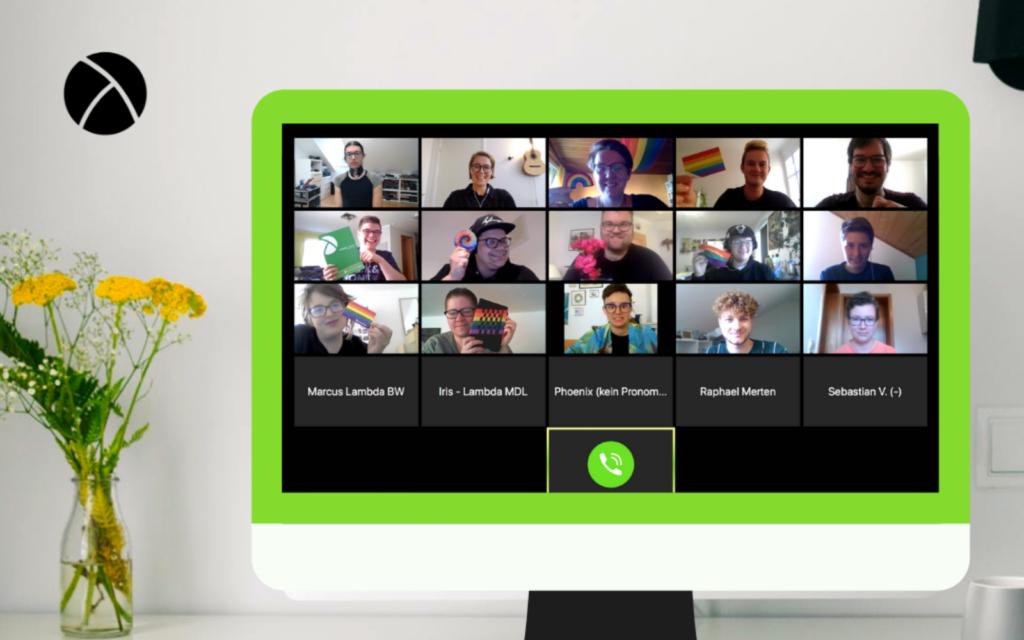 Bildschirm mit Videokonferenz